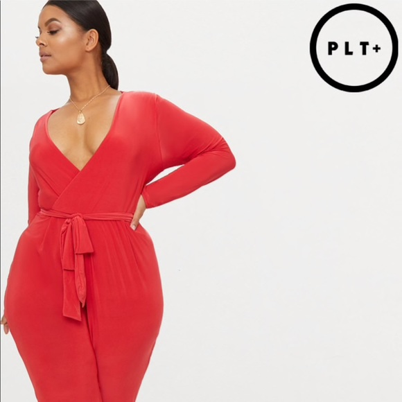 69b6496556c9c PrettyLittleThing PLUS Red Wrap Jumpsuit SZ  18